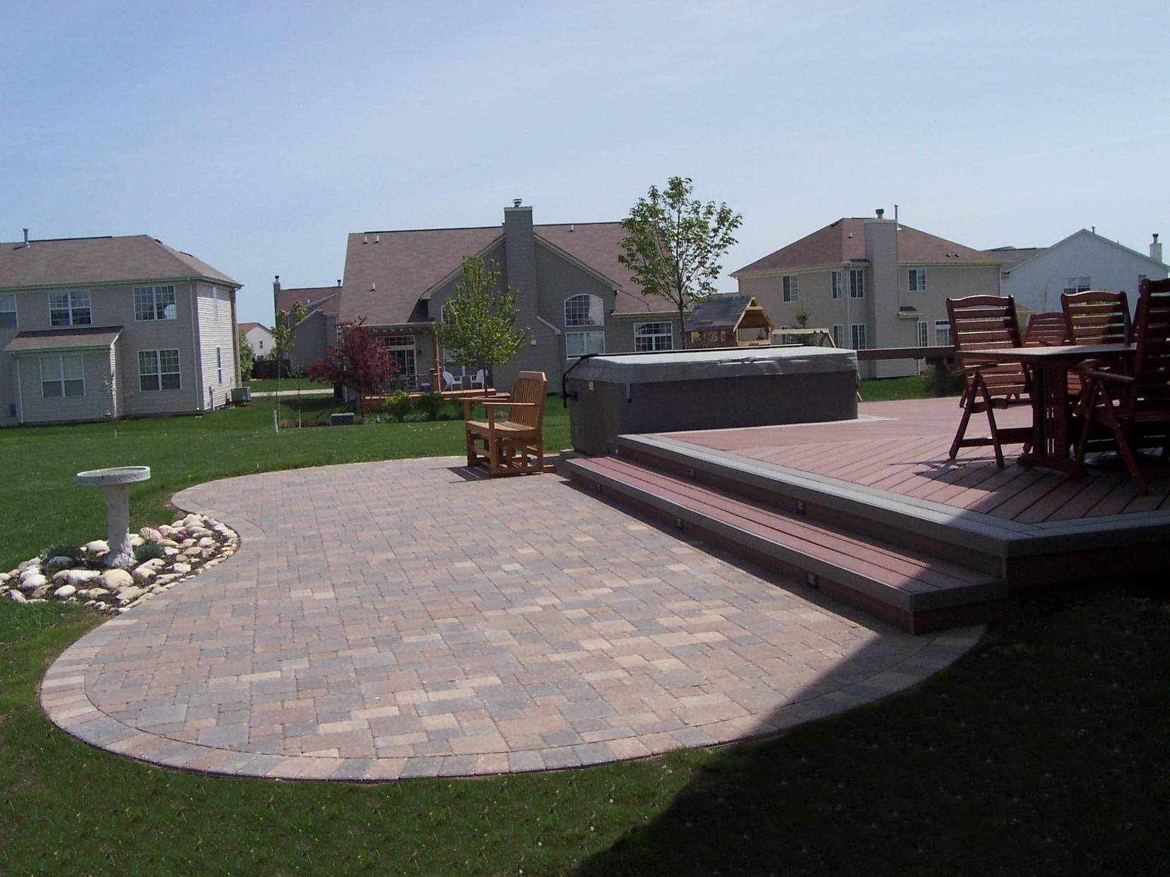Backyard Ideas Deck And Patio : Synthetic Deck with Hot Tub and Paver Patio