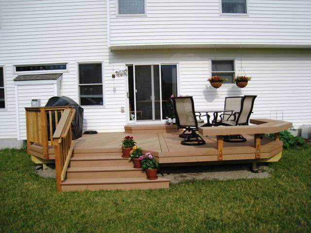 Columbus low to grade deck Floating Bench Flaired Steps Delaware County OH