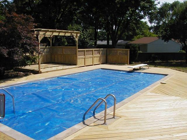 Low to grade Poolside Deck with Pergola and Privacy Fence Columbus OH