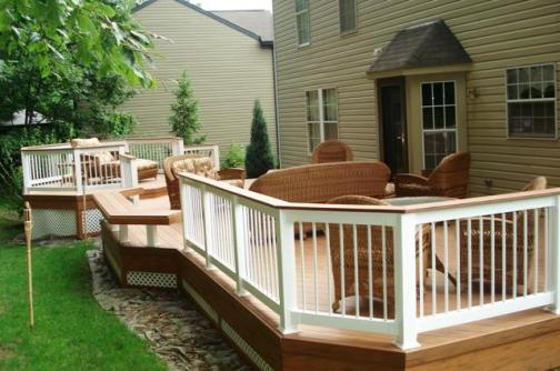 Multi level low to grade Floating Bench Flaired Steps Columbus Delaware County