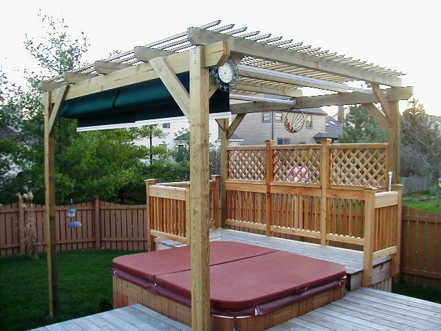 Archadeck Of Columbus Deck Extension For Hot Tub With Retractable Awning