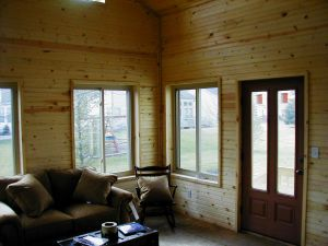 Columbus OH rustic sunroom with exterior grade door