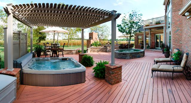 Diy floating deck with pergola plans wooden pdf decals for for Jacuzzi enterre exterieur