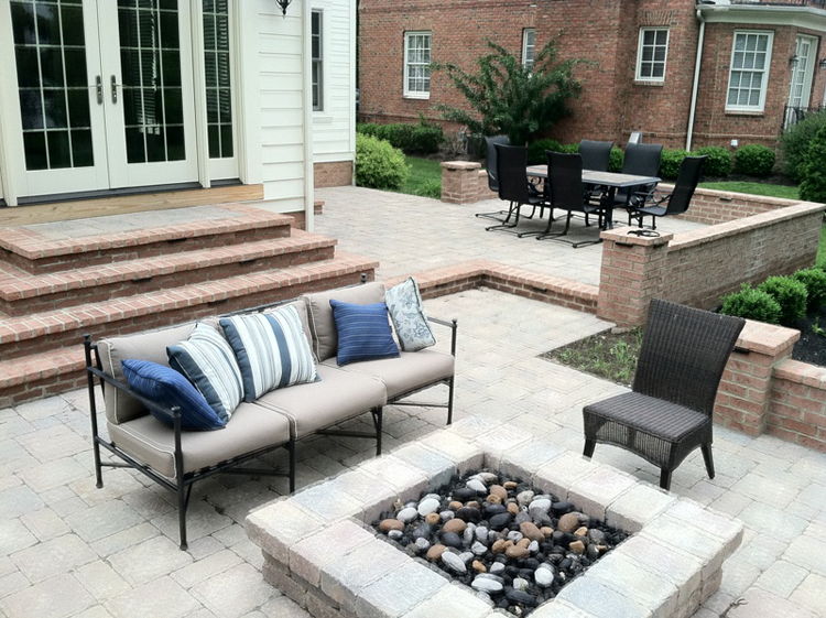 Hardscape steps, patio and custom fire pit by Archadeck of Columbus