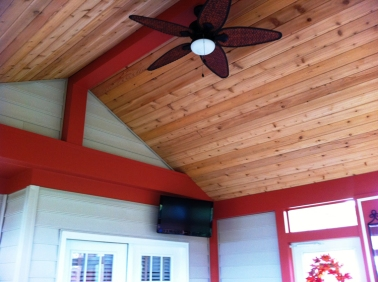 Powell, OH screen porch Cedar tongue and groove ceiling detailing