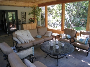 Columbus large screen porch interior design with traffic flow area