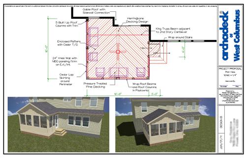 columbus screen porch architectural drawing design plan - Screen Porch Ideas Designs