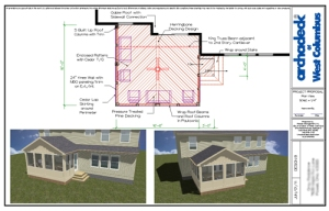 Columbus screen porch architectural drawing design plan