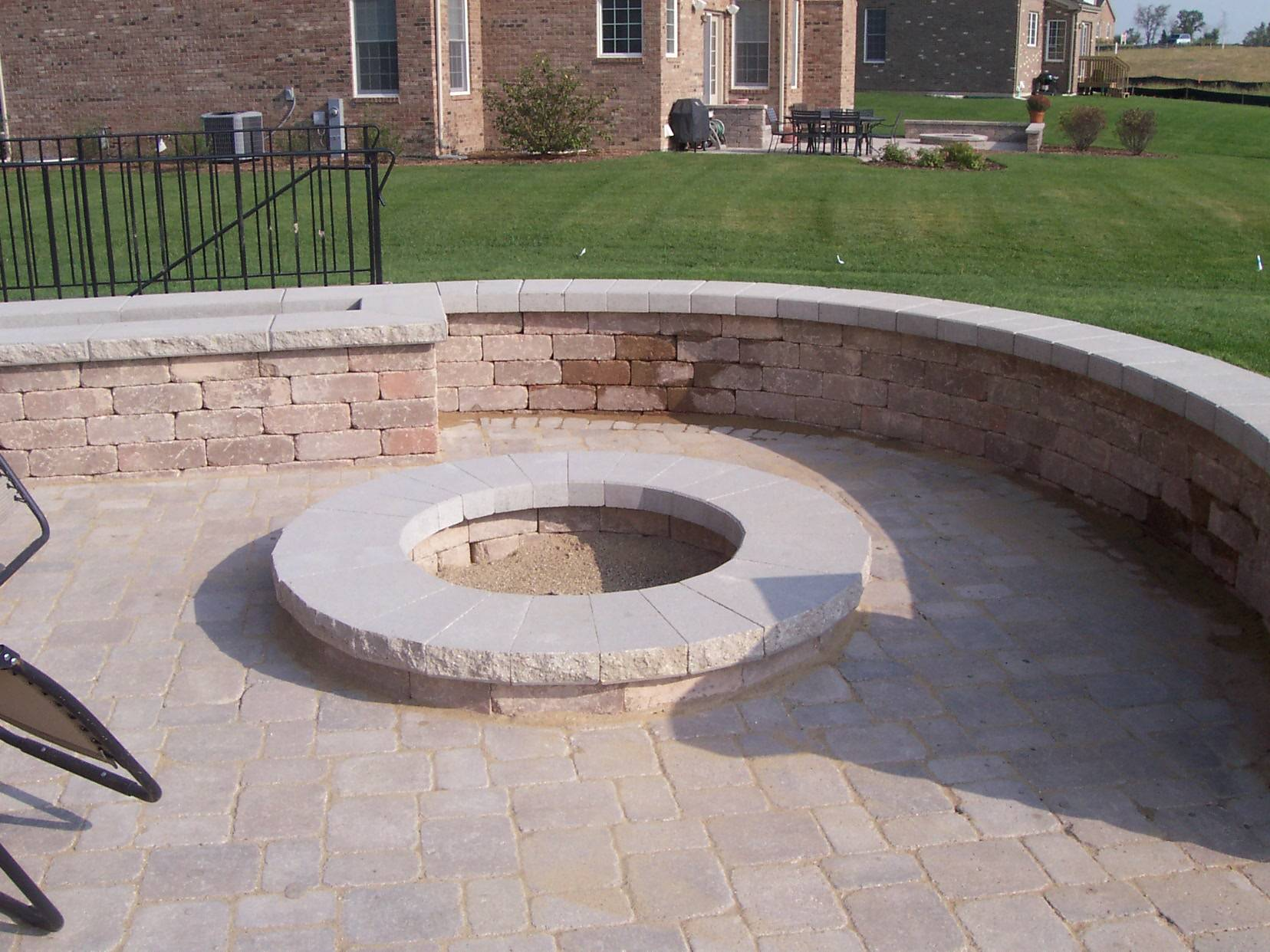 Hardscape Paver Patio With Hardscape Retaining Wall Bench And Planter  Columbus OH