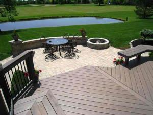Patio, deck and fire pit combination in Dublin, OH