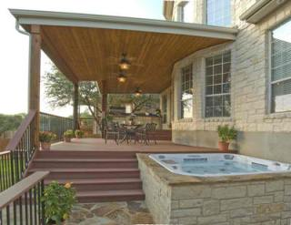 Open porch with spa and kitchen