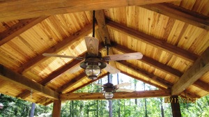 Rustic exposed rafter porch