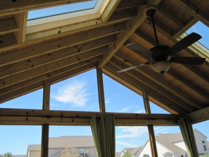 Rustic style screen porch exposed rafters Columbus