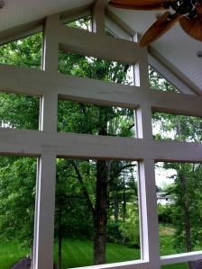 Stunning view from Delaware screened porch through structural details