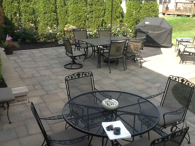 Unilock Beacon Hill Flagstone pavers - Columbus Decks ... on Backyard Patio Extension id=37674