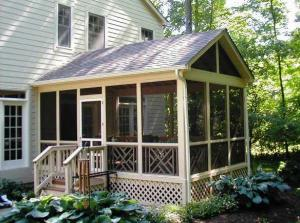 Columbus gable roof screened porch with sidewall connection