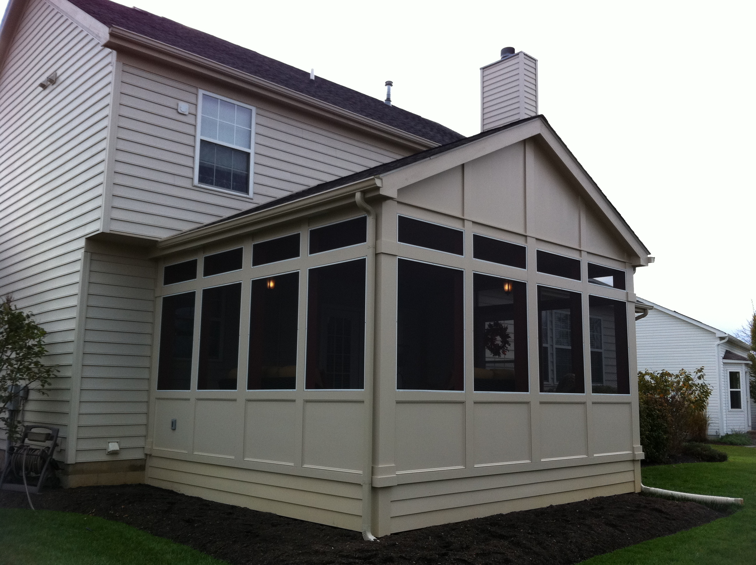 Gable roof with cantilever Shed with screened porch