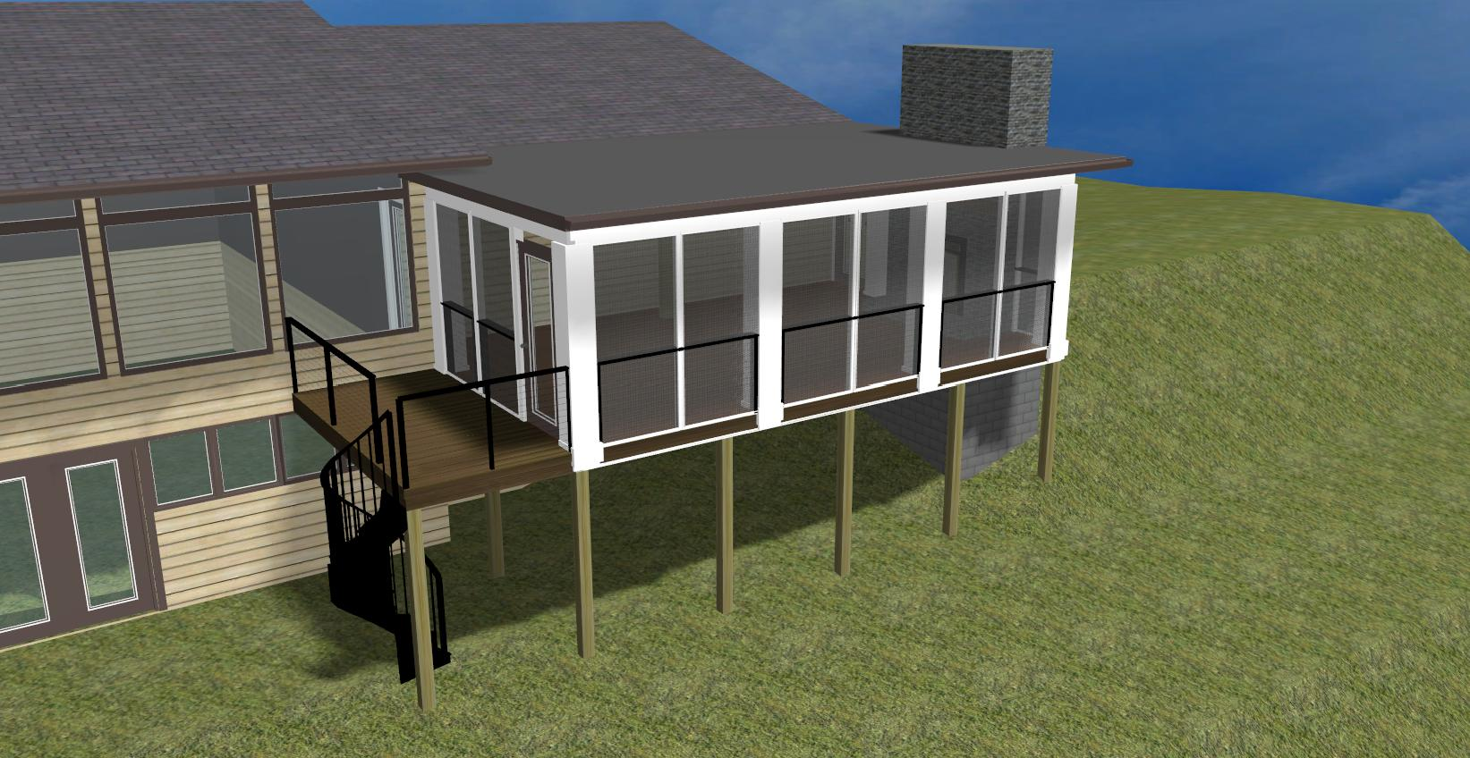 Tying a porch roof shed into existing roof ask home design for Shed roof porch designs