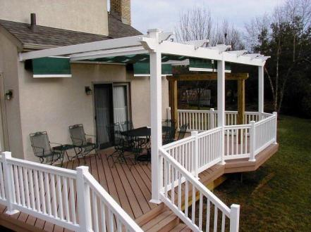 Pickerington, OH white vinyl pergola over TimberTech Cedar composite deck