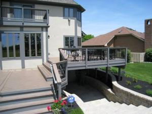 TimberTech Pacific Walnut deck with paver steps in Dublin, OH