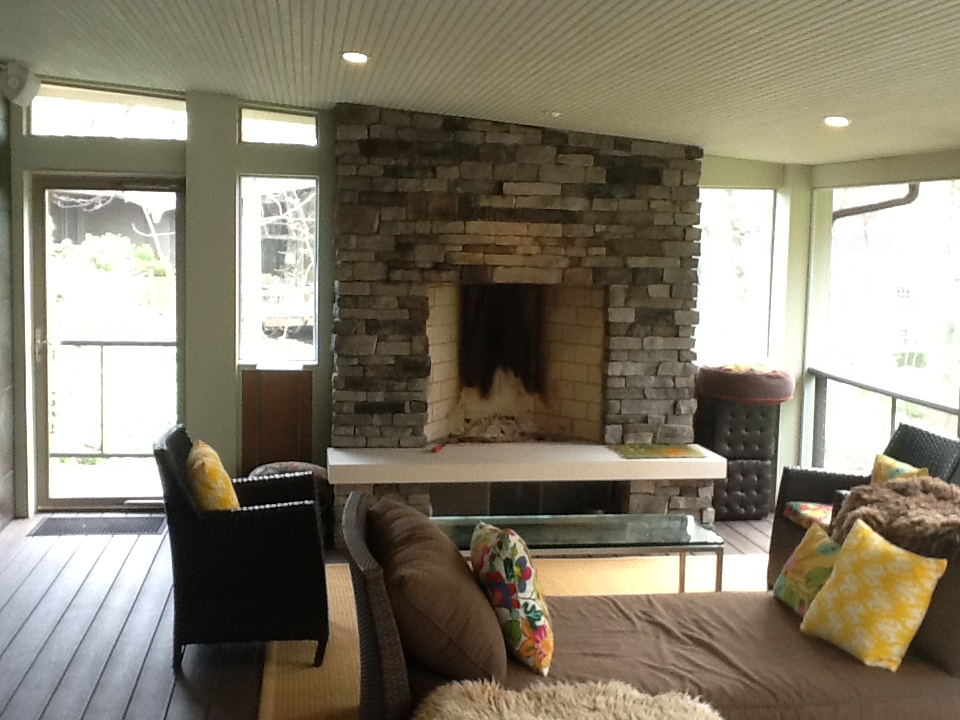 Porch design columbus decks porches and patios by archadeck for Gas fireplace screened porch