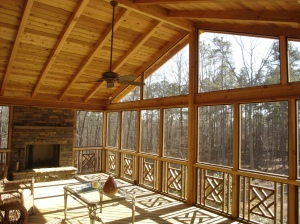 Large screen porch with outdoor fireplace and tongue and groove ceiling Columbus OH