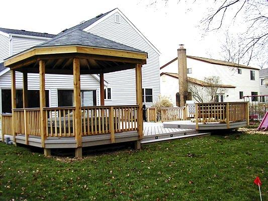 Columbus low to grade Timbertech Twin Finish gray composite deck multiple levels and Gazebo for hot tub