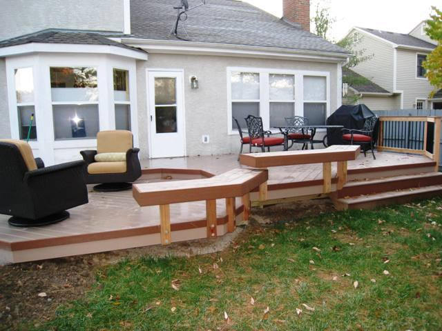 Multi-level Timbertech XLM Deck in Sandridge with Mountain Cedar trim low to grade Columbus OH