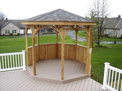 Azek Brownstone colored multi-level deck with Gazebo and Vinyl Rails, Reynoldsburg, OH, Columbus, OH