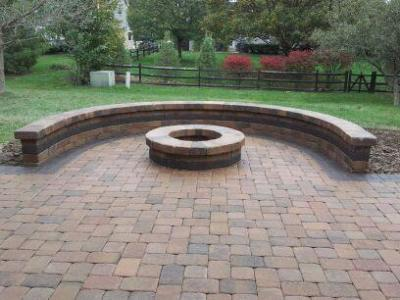 Old Chicago style brick banding in hardscape design ... on Paver Patio Designs With Fire Pit id=81155