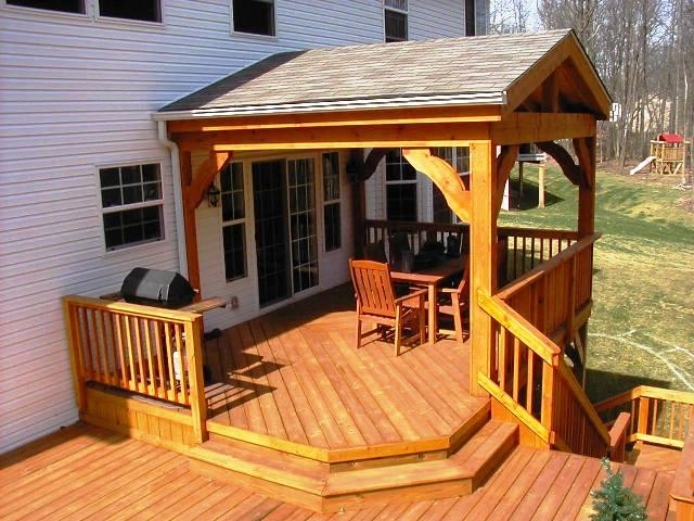Cedar patio cover with outdoor kitchen patio - Building With Cedar Columbus Decks Porches And Patios