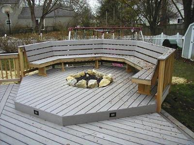 Columbus, OH deck with built in fireplace