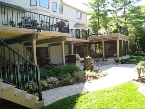 Columbus Timbertech XLM Sandridge Colored Deck with Screen Porch and Patio Columbus, OH
