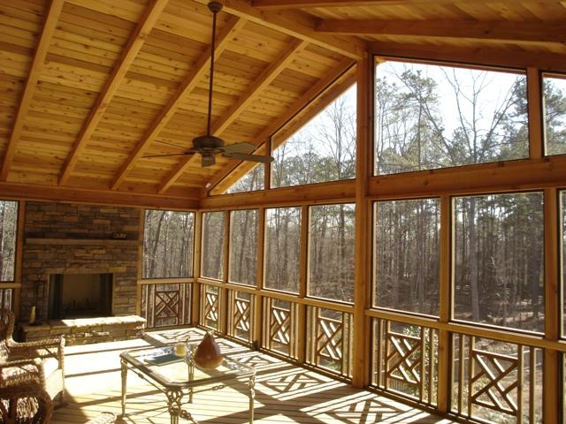 Delaware OH rustic screen porch with outdoor fireplace