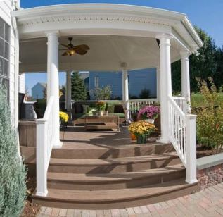 Open porch and hardscape patio