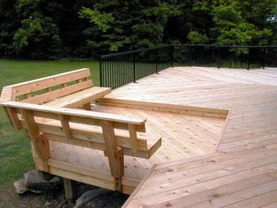 Cedar deck in Columbus OH with Pressure Treated Pine Deck features custom Cedar Rail Posts