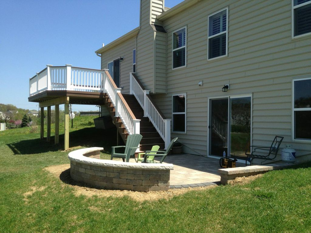 deck patio with fire pit. Granville OH Patios And Hardscapes Deck Patio With Fire Pit D