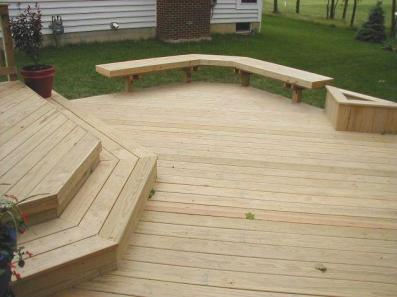 This custom designed deck was constructed in Powell, Ohio Pressure treated pine