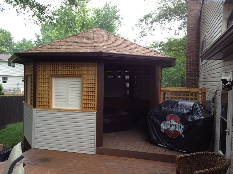 hot tub gazebo with buckeyes grill