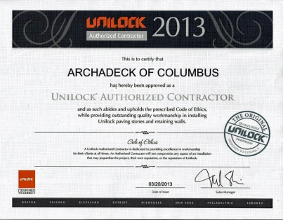 unilock certified contractor Archadeck Columbus Ohio