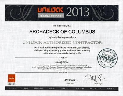 unilock certified contractor Archadeck Columbus Ohio