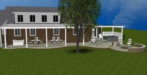 Columbus multi level patio design with pergolas