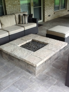 Columbus square fire pit paver patio