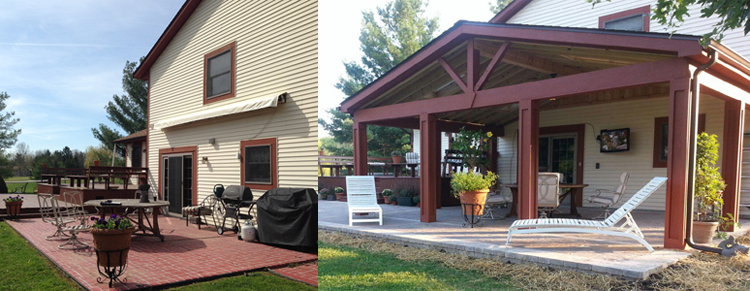 Pataskala OH before and after covered porch