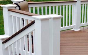 TimberTech rail cap on white Columbus vinyl railing