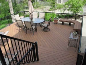 TimberTech XLM Harvest Bronze deck with black aluminum railings