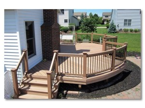 These TimberTech rails are bent for this deck