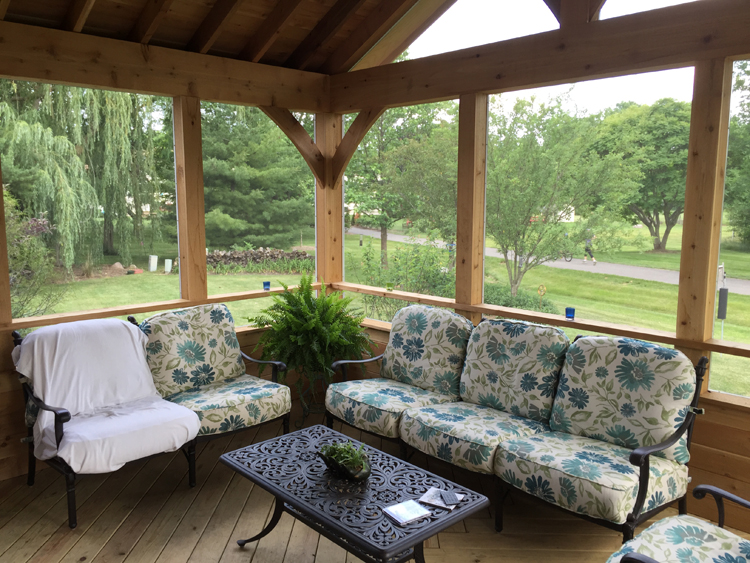 Columbus Cedar Screened Porch With Drink Rail
