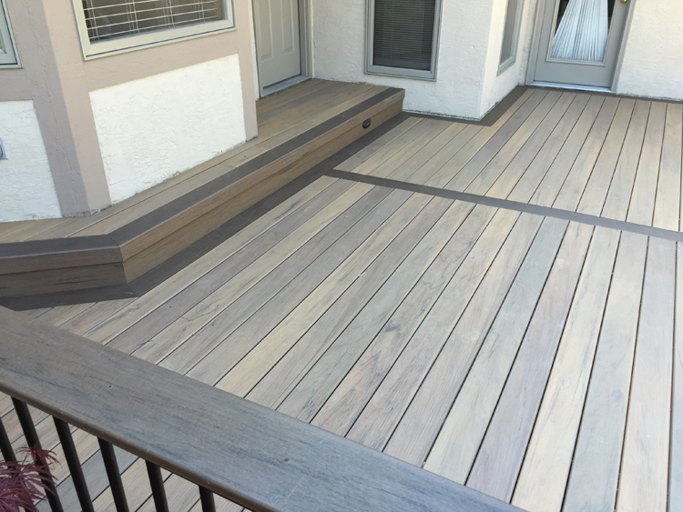 Picture Framing Deck Boards ~ Timbertech tigerwood decking with mocha picture frame lr