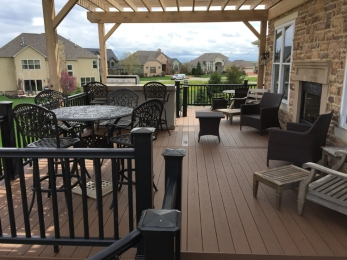 Low maintenance Columbus TimberTech deck with pergola lr